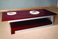 Mahogany Coffee Table with Stainless Steel Legs